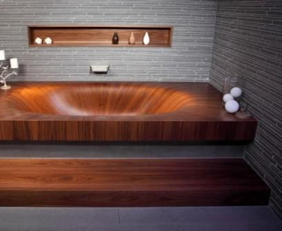 Ванна, изготовленная из дерева, может иметь различные формы