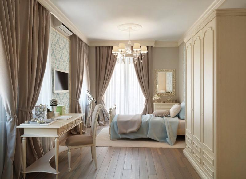 Дизайн штор в классическом стиле подразумевает применение качественного материала для пошива (фото 1)