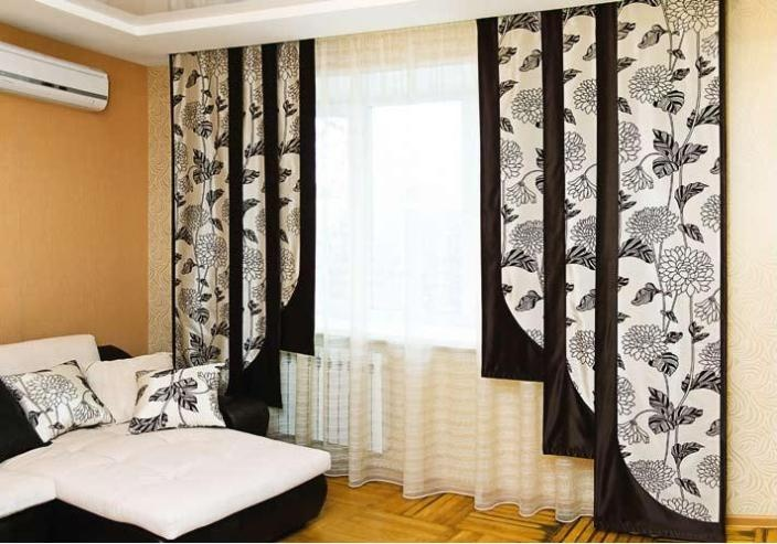 Японские шторы-панели - это полотна ткани разной ширины, но не более 60 см.
