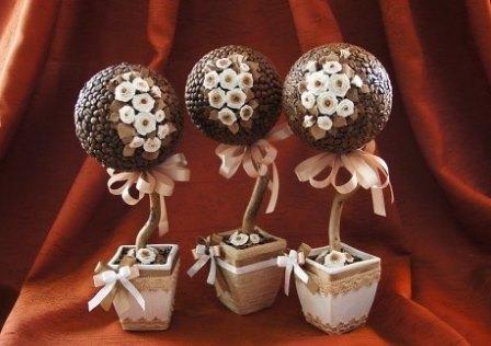 Прекрасным сувениром для интерьера дома, а также уникальным подарком становятся топиарии из кофейных зерен