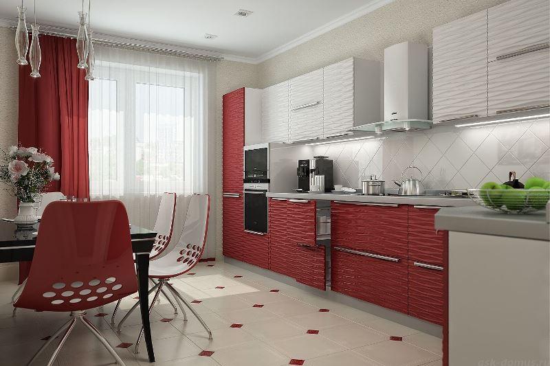 В роли контрастного вспомогательного колора, подчеркивающего основной, в нашем случае белый, он весьма уместен, как и шторы красно белого или черного с красным окраса (фото 3)