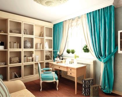 Бирюзовые шторы являются именно тем фактором, который может существенно приукрасить оформление квартиры