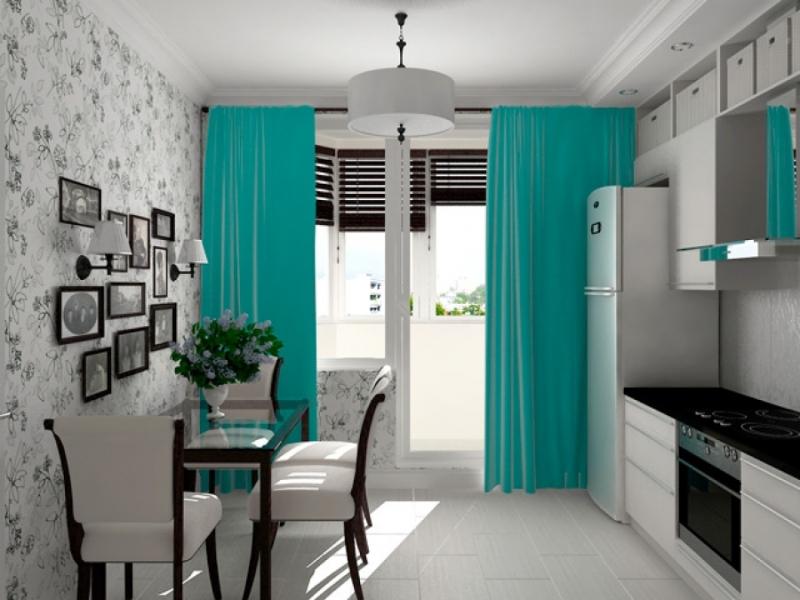 Бирюзовые шторы представляют собой достаточно экзотическое решение, поскольку достаточно редко используются людьми для подчеркивания особенностей интерьера своего дома