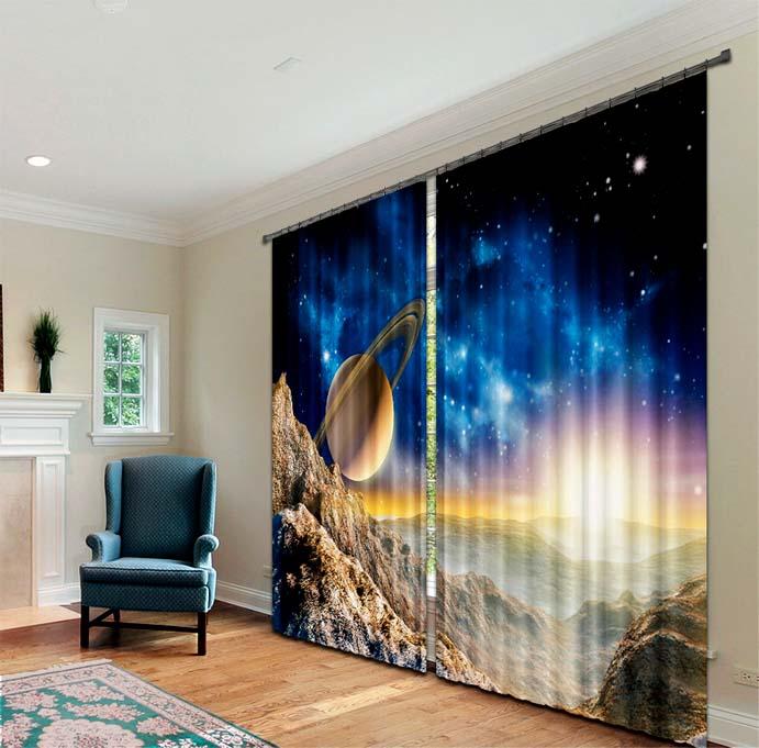 Для каждой комнаты можно подобрать шторы с изображением, создающие особую атмосферу