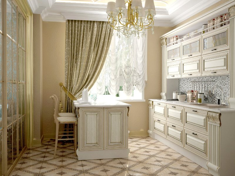 Не стоит забывать о том, что шторы для кухни в этом стиле должны быть такими, чтобы их длина не доставала подоконника или чуть касалась его (фото 3)