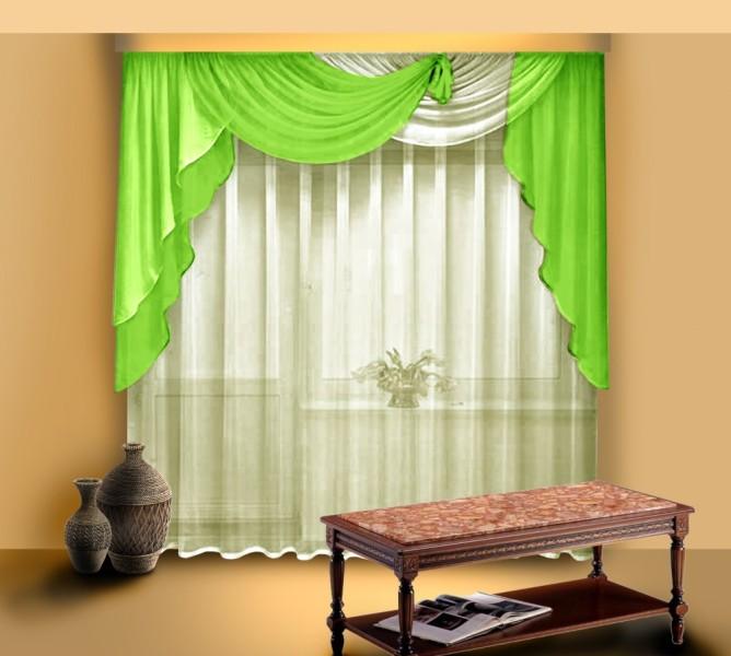 Популярными являются так называемые косыночки для ламбрекена на готовые шторы, которые позволяют соорудить весьма оригинальные и эффектные по дизайну варианты оформления комнаты