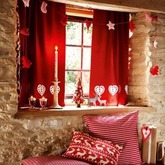красные новогодние шторы