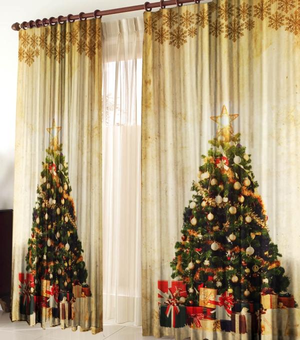 Новогодние шторы в наше время можно приобрести в любом текстильном магазине