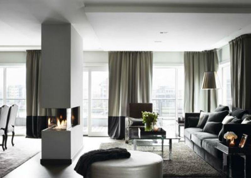 Серые шторы являются одной из главных составляющих в организации стильного интерьера