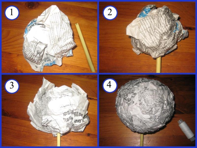 Выровнять шар можно, обмотав его большим количеством ниток или обклеив его сверху папье-маше