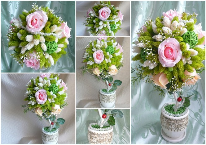 Цветы размещают плотно и густо друг к другу. Чем пышней и воздушней будут цветы на дереве, тем необычней и сказочней будет его вид