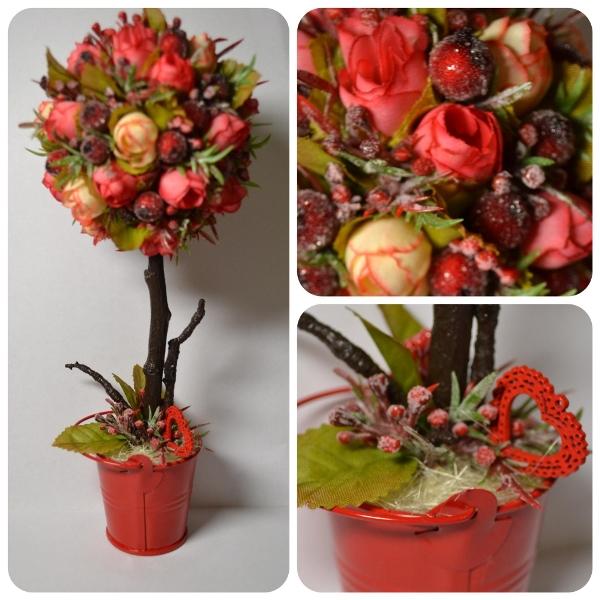 Сделать ли бутоны в топиарии с розами закрытыми или распускающимися, можно решить самостоятельно