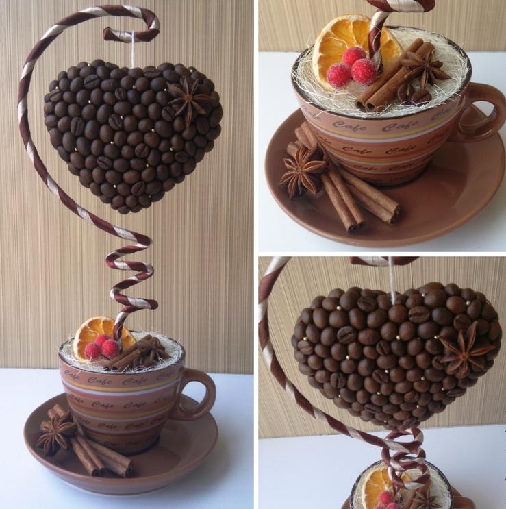 Очень интересный вариант - кофейный топиарий в виде сердца