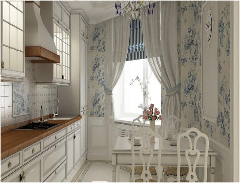 Занавески в стиле Прованс на кухне должны быть особенными