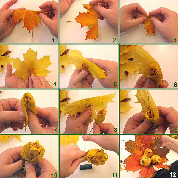Из крупных кленовых листьев разнообразных оттенков можно создать бутоны изящных роз и сформировать из них крону
