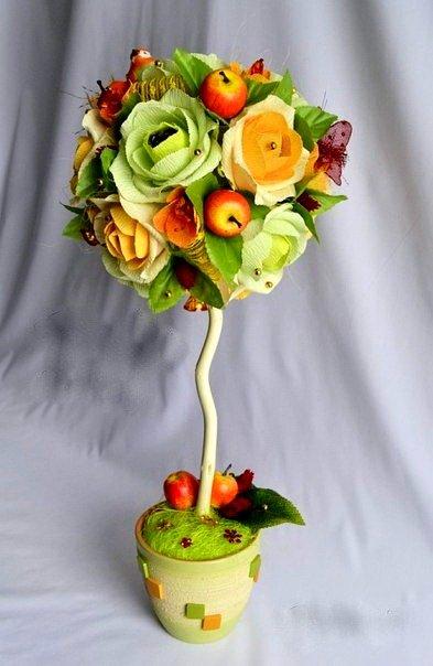 Ведерко украшают с помощью декоративной ленты и органзы. Кончики фантиков можно украсить бусинками, камнями (фото 3)