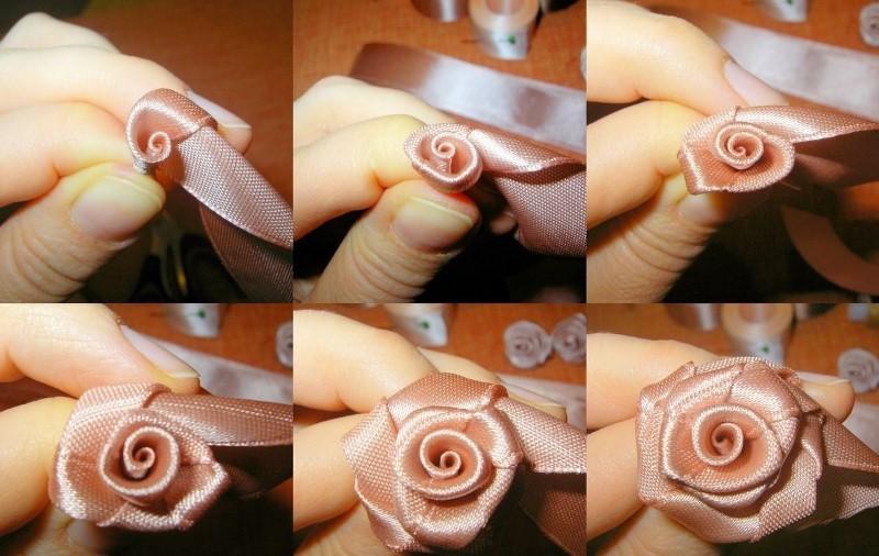 Можно изготовить шикарную розу, для чего понадобятся алая лента