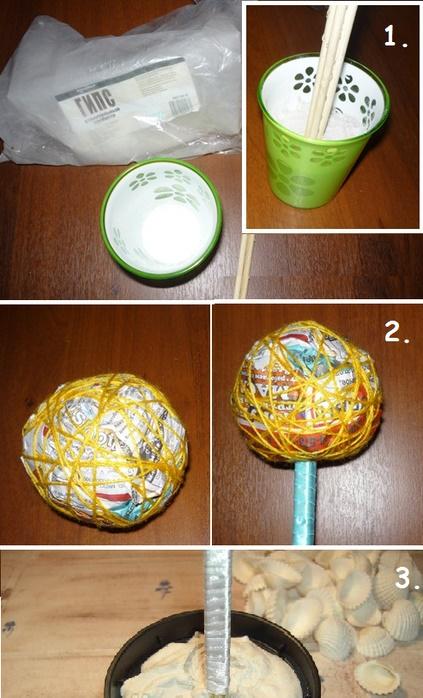 Буквально в течение 2-3 часов можно сделать изящный топиарий из ракушек своими руками (рис. 1)