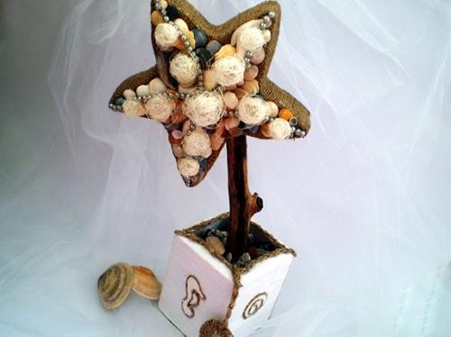 Узор из небольших ракушек на верхней плоскости звезды и дополнить декор нитками жемчуга и сизалем (рис. 5)