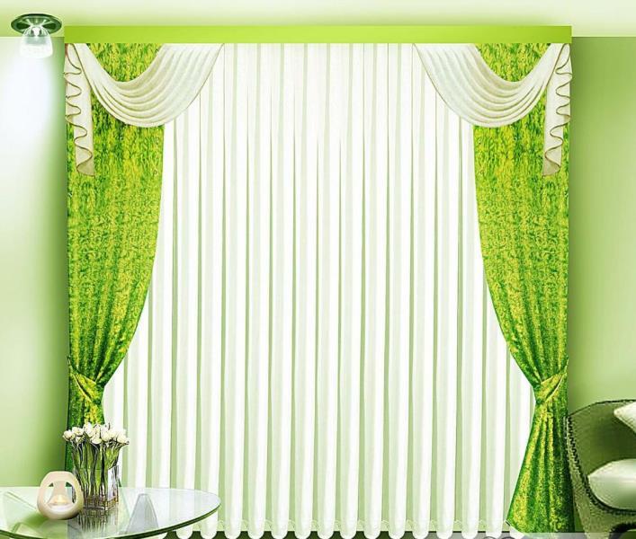 Достаточно часто зеленые шторы применяются в гостиной комнате
