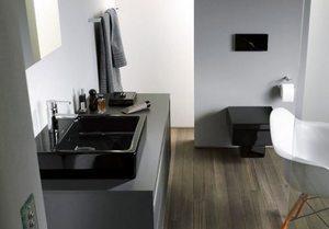 Дизайн ванной - черный унитаз и биде