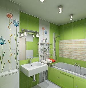 Оригинальный стиль маленькой ванной комнаты