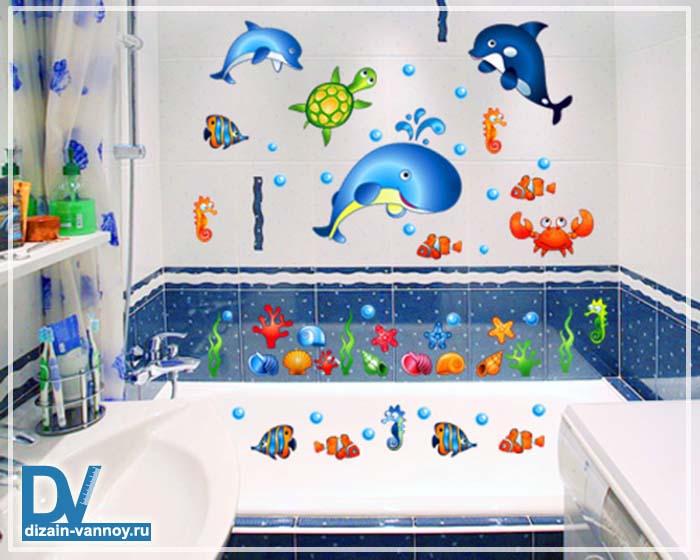 Украсить плитку в ванной своими руками 48