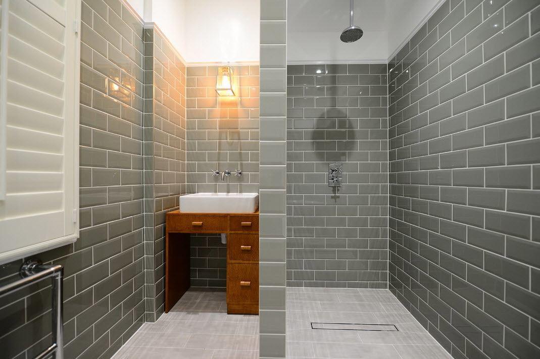 Dark bathroom floor tiles