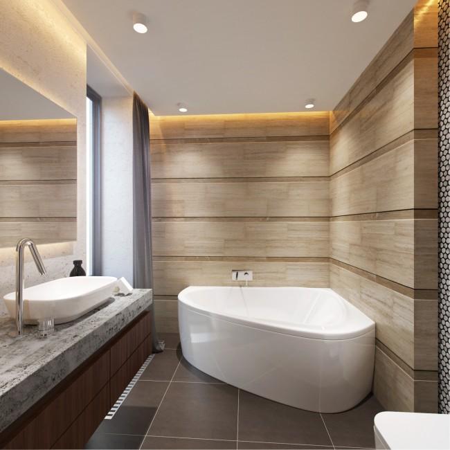 интерьер ванной комнаты фото с угловой ванной