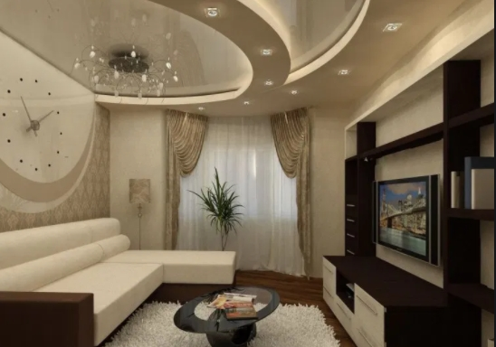 современный интересный дизайн потолка