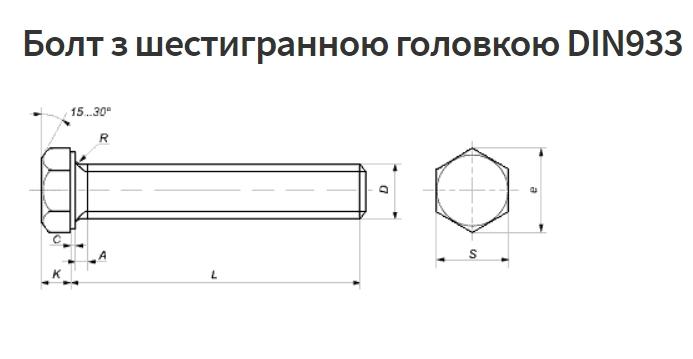 Крепеж: Болт с шестигранной головкой